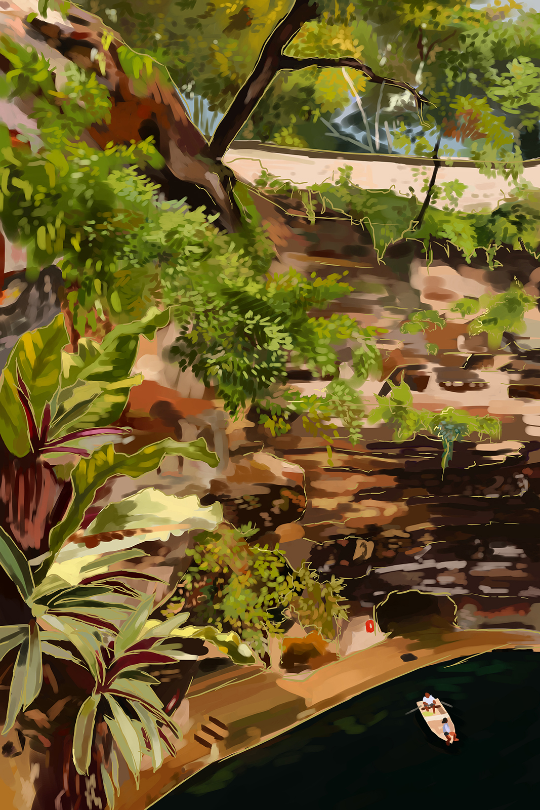 Digital painting of a cenote with a person in a rowboat. The brown stone walls are covered in foliage.