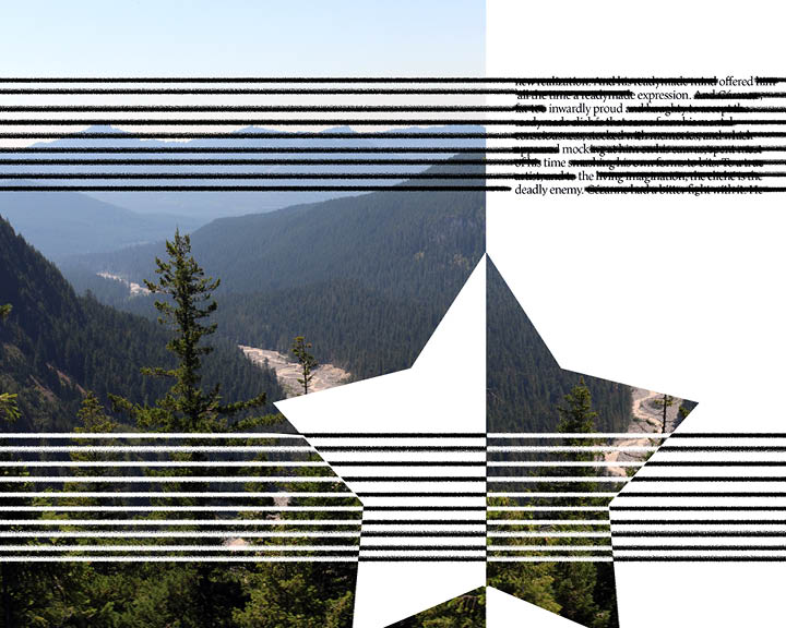 Third spread of Inspirations. Mountains with a large star superimposed. An erasure poem's on the right, it's lines cross the mountain.