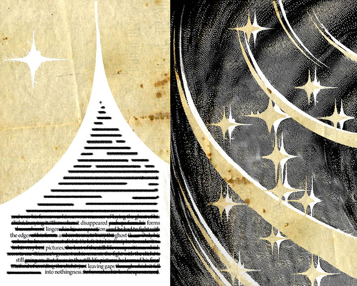 Fifth spread of Inspirations. The left page has an erasure poem in the top of a cropped star. Left has streaks and stars.