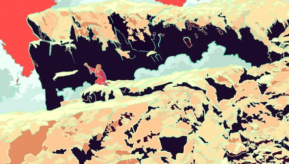 Digital drawing of a sage pleading on a mountain. They're outsized by their surroundings.