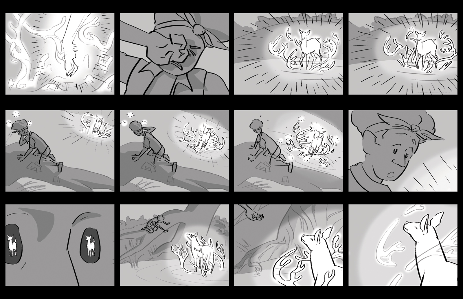 Ninth storyboard. The mysterious light is revealed to be a spirit deer with water antlers. It crosses the pond to greet Denny.