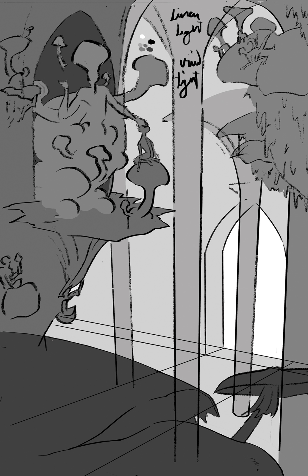 Greyscale thumbnail of Mycelysis. Shows the basic composition and lighting of the mushroom cathedral.