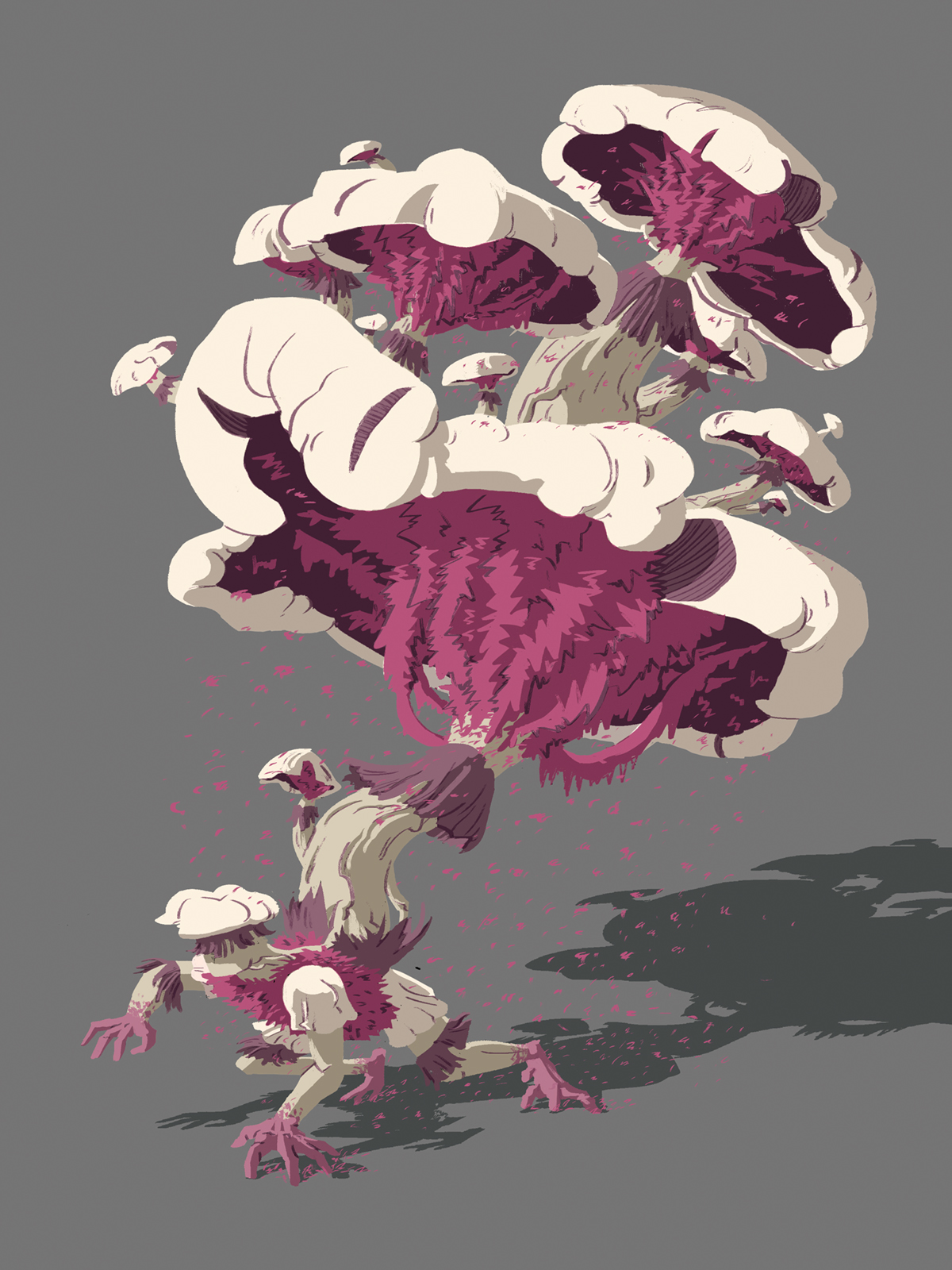 Sporren final concept art. The creature is on all fours with a pile of teetering mushrooms sprouting from its back.
