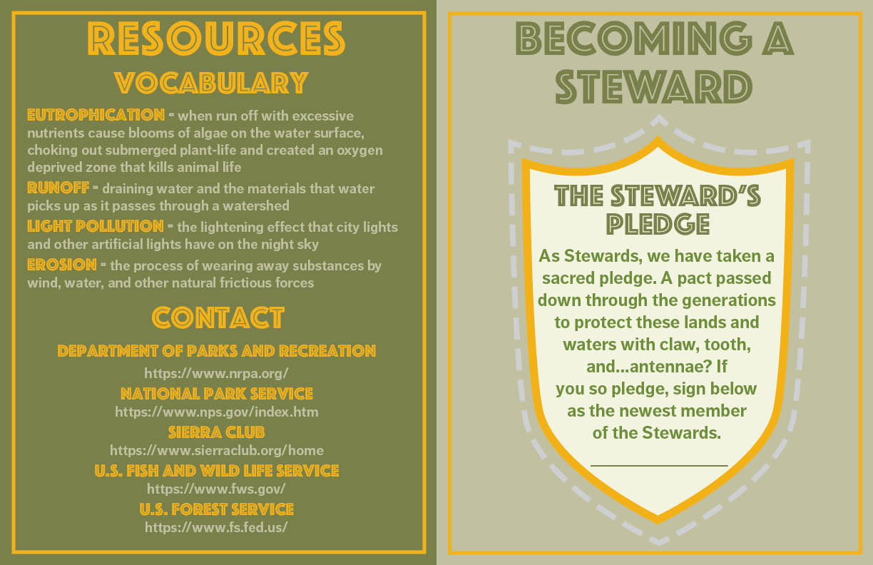 Third spread of Stewards of the Environment. Left page has vocab and resources. Right page has a Steward badge and pledge.