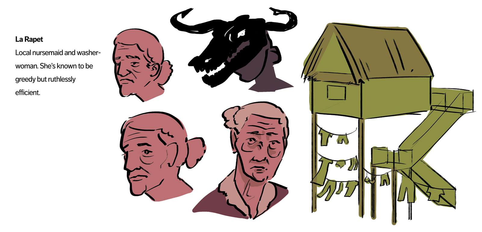 La Rapet concept art. Rapet is an elderly washerwoman from the bayou's edge. She is shown in regular clothes and as the devil.