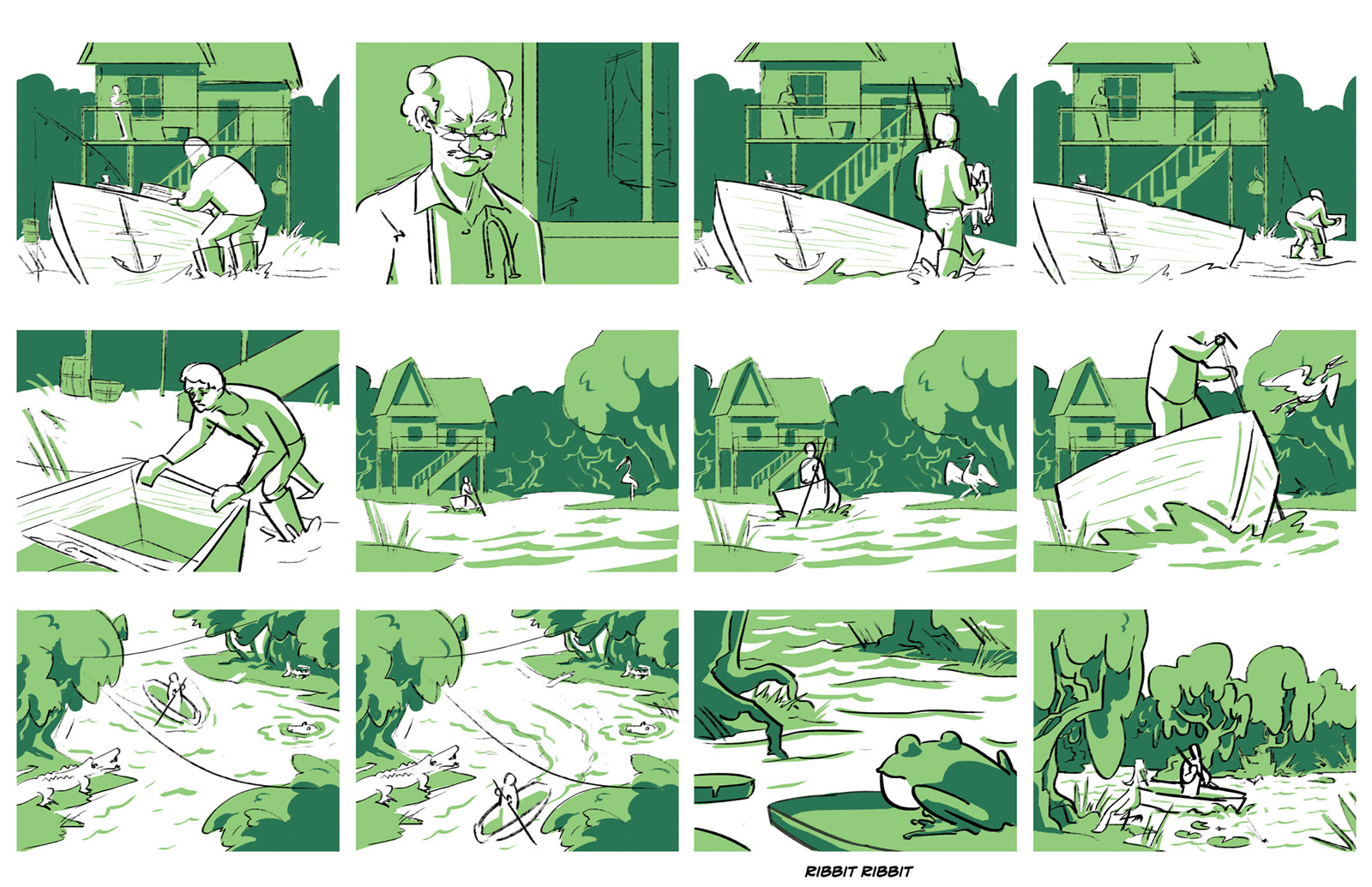 "First storyboard of ""The Devil"" beat two. Honore rows through the bayou to ask for La Rapet's help."