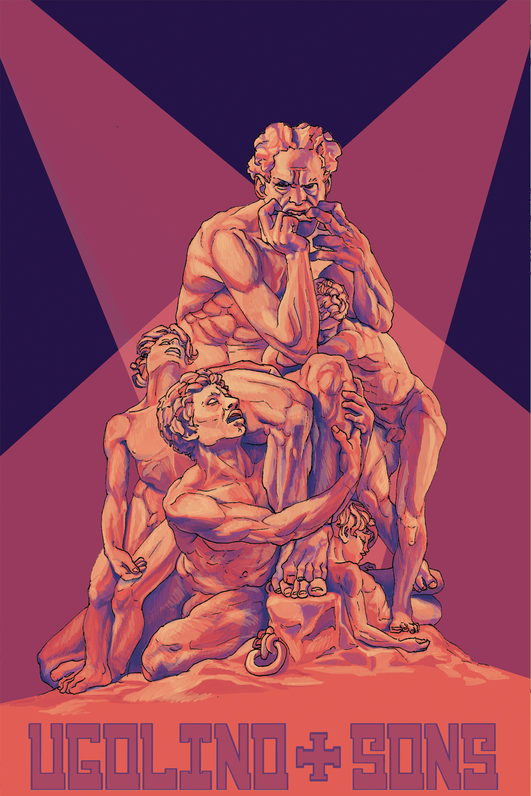 Artist depiction of Carpeaux's Ugolino and His Sons. Digital drawing of the statue with an original typeface for the title.