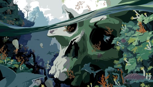 Digital drawing of a huge skull submerged in a prehistoric ocean. The aquatic life is vivid, nothing lives outside the water.