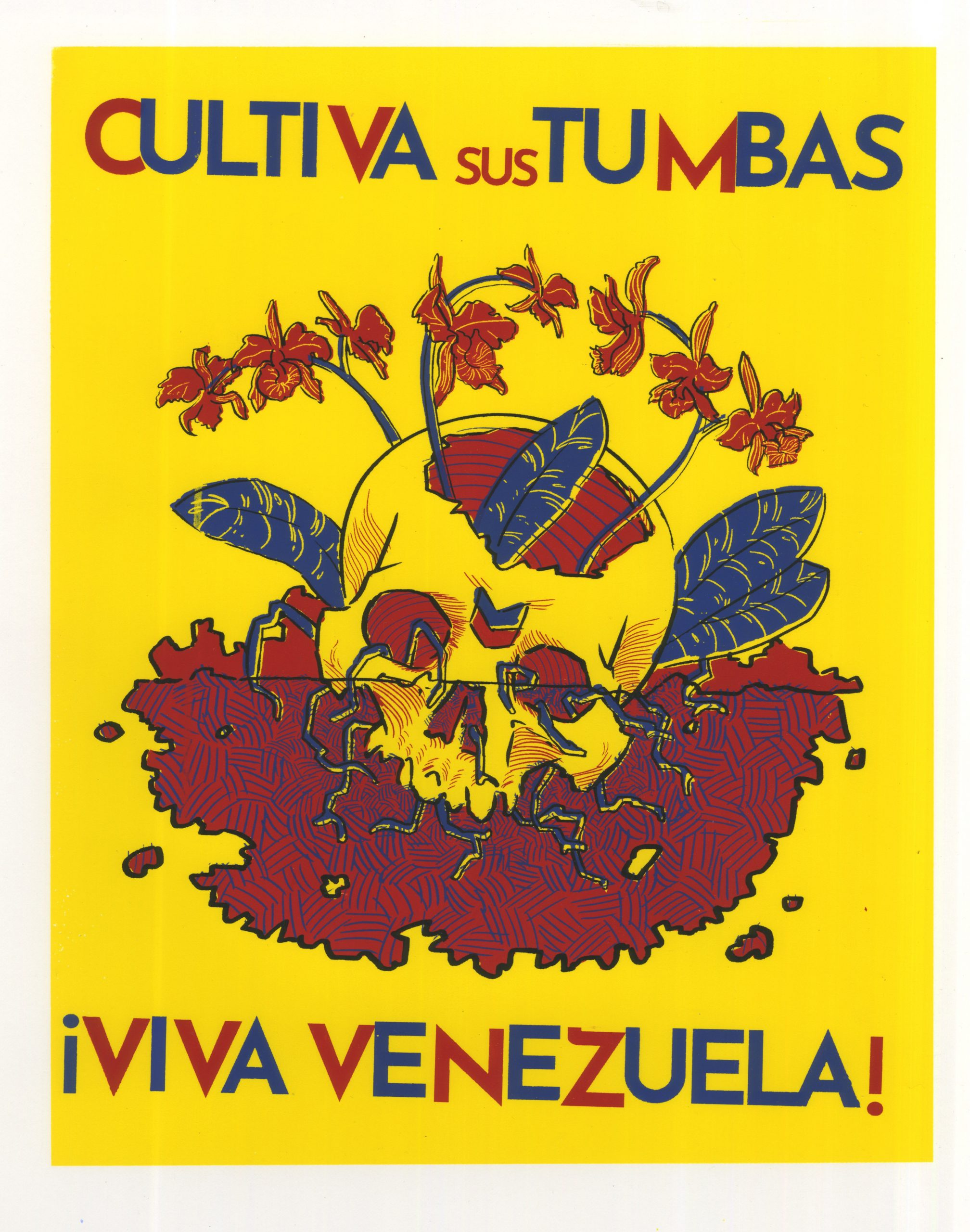 Poster in support of Venezuela. Skull with the Chevron logo is depicted with the Venezualan national flower growing out of it.