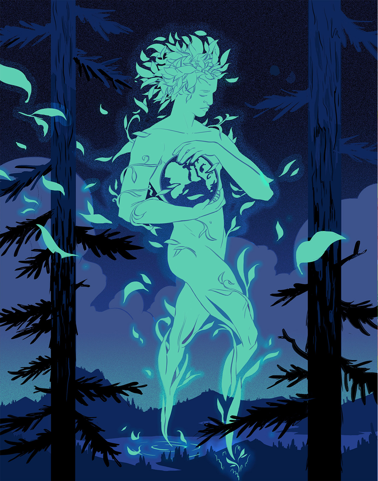 """Illustration for Brandon McWilliam's piece """"A case for the land and its stories"""" for Lucky Jefferson. A large figure formed from leaves cradles a globe. They are walking over a valley lake at night. The composition is framed between two pine trees."""