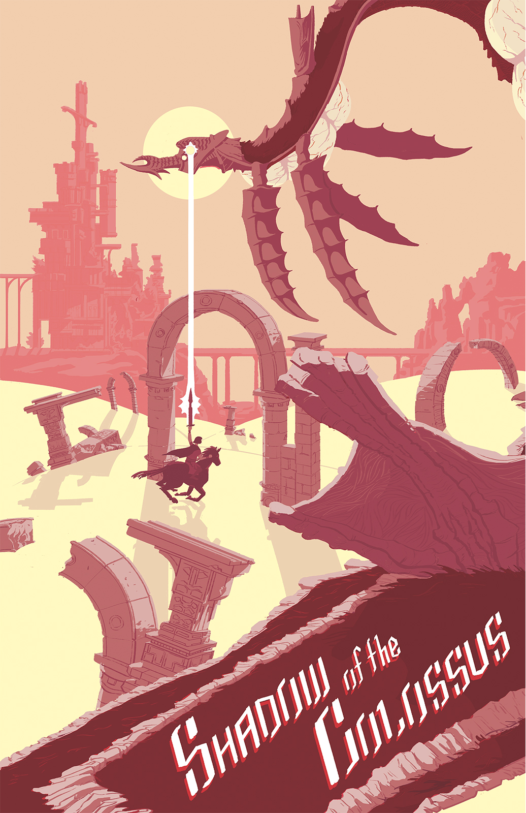 Shadow of the Colossus fanart. Phalanx, a flying serpentine colossus floats over a desert landscape littered with arches. Wander and Agro chase the colossus with a raised sword. In the background the Main Temple can be seen. The foreground has the game's title.