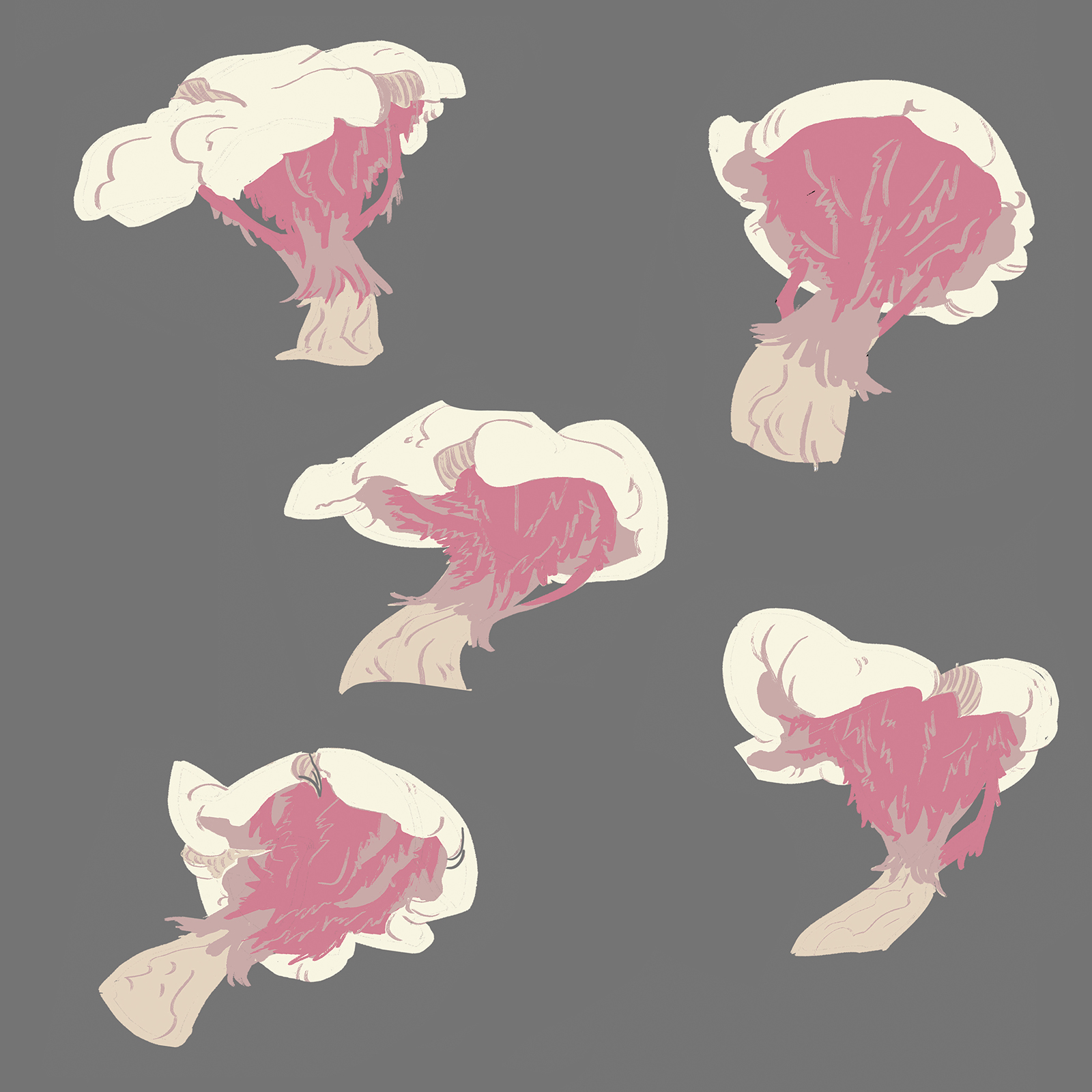 Item sheet, exploring mushroom designs for the sporren concept art. The mushroom has a white cap, a tan stem, and pink gills.