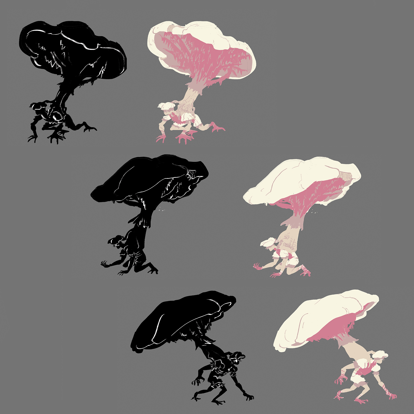 Pose sheet for the sporren concept. The creature is semi-bipedal due to an overwhelming mushroom growing out its back.