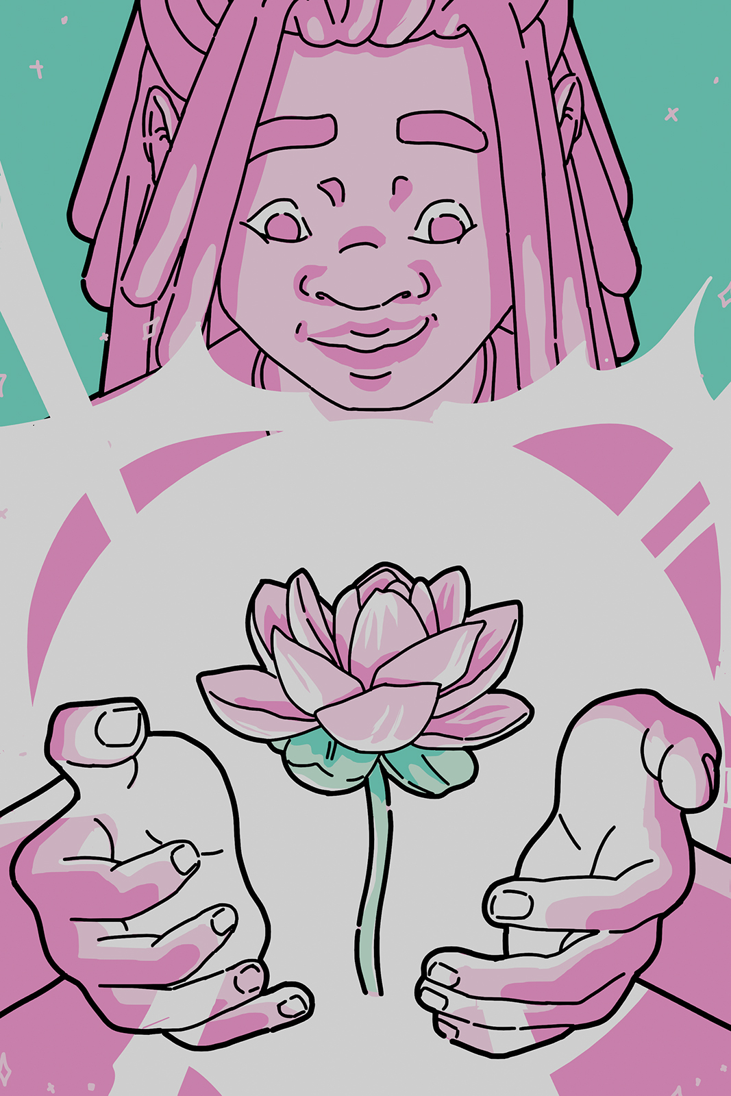 A still frame from an animation of a lotus opening in Kerris' hands. The flower floats in a globe of light cupped by Kerris' hands. They have a soft smile on their face.